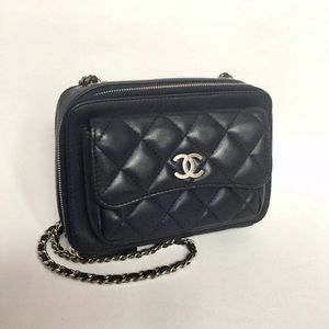 AUTHENTIC Chanel Blue Leather Quilted Camera Bag